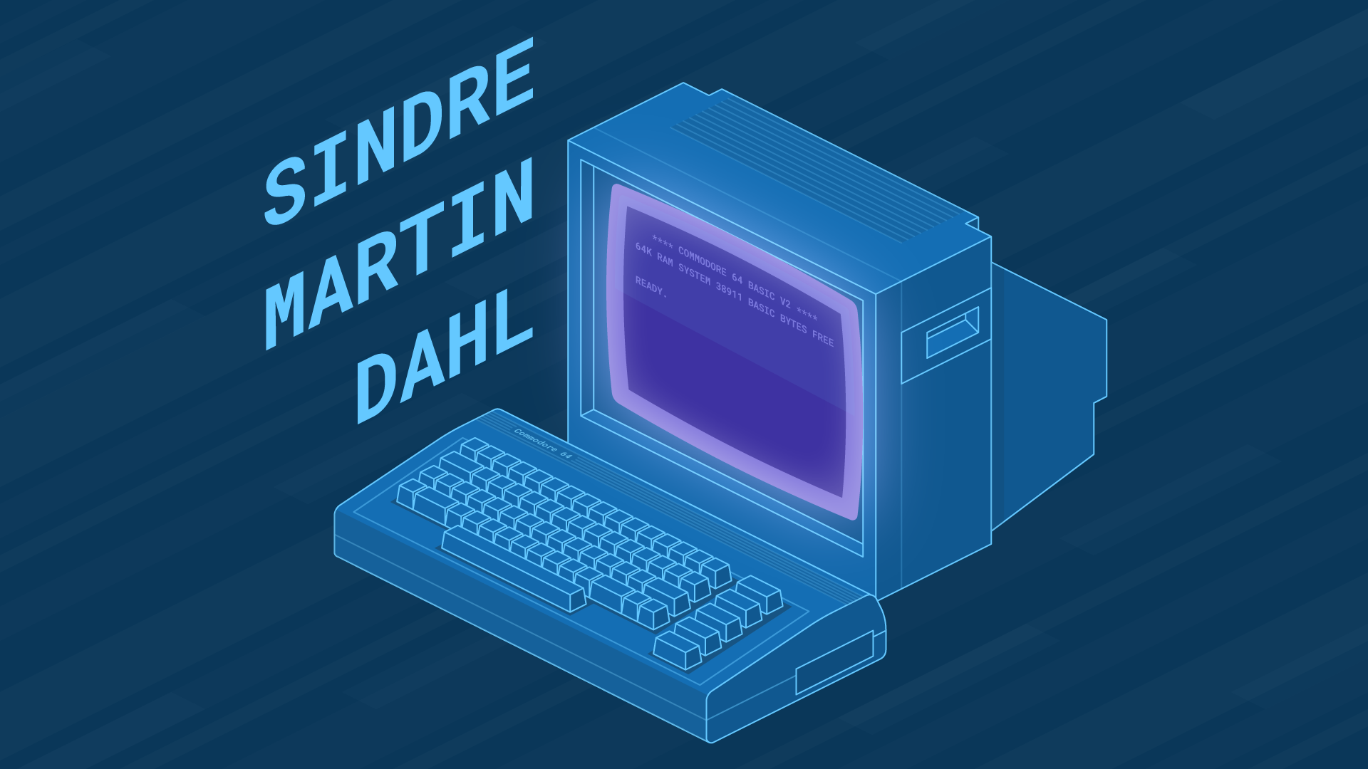 Illustration of Commodore 64 desktop computer and monitor